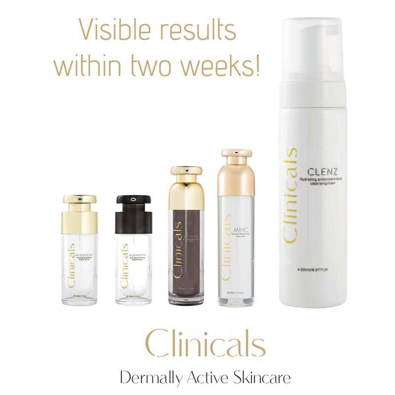 Clinicals Dermally Active Skincare Products | Visible Results in Two Weeks!