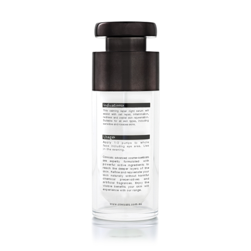 Clinicals Alleviate PM Anti-Ageing Calming Night Repair Serum Back