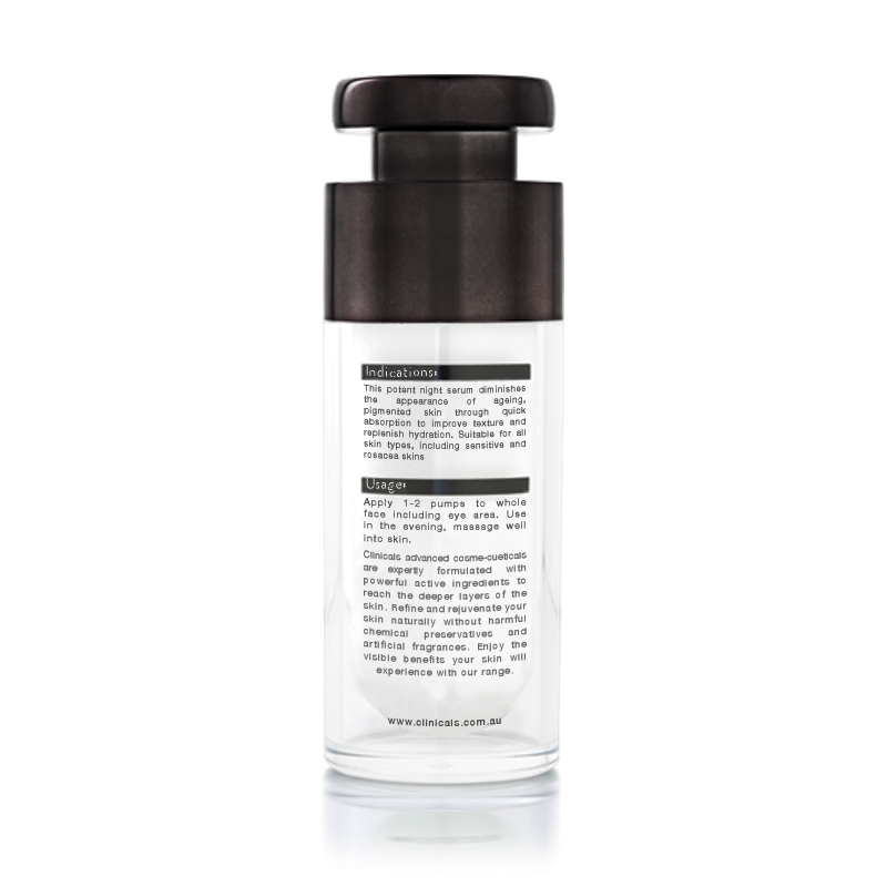 Clinicals Shift PM Anti-Ageing Pigmentation Night Serum Back
